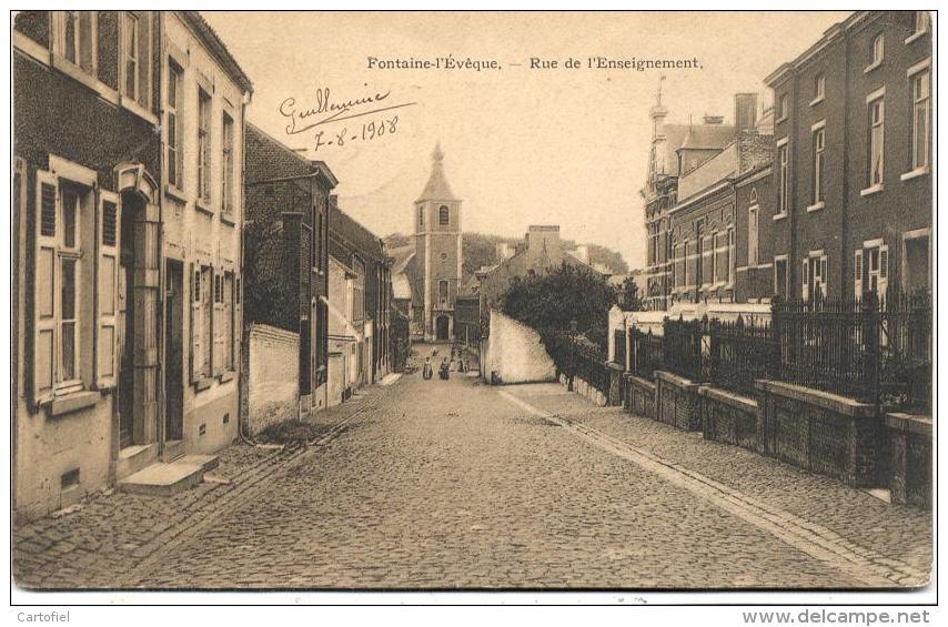 FONTAINE-L´EVEQUE-RUE DE L´ENSEIGNEMENT-CARTE ENVOYEE 1908-EDIT.L. DAISNE - Fontaine-l'Evêque