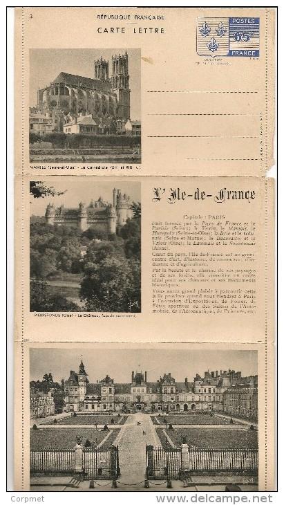 FRANCE - 1938 UNUSED Triptyque CARTE LETTRE - ARMOIRIES DE L´ILE-DE-FRANCE - Ganzsachen
