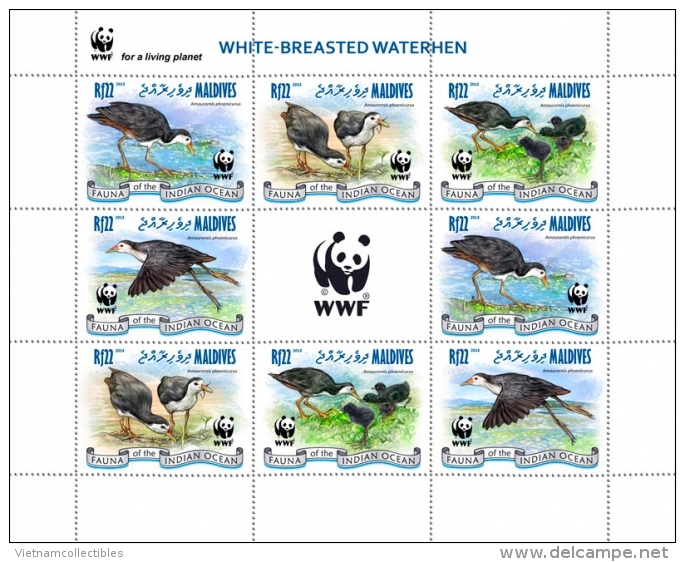 (WWF-519) W.W.F. Maldives White Breasted Waterhen / Bird / Birds MNH Sheetlet 2013 - W.W.F.