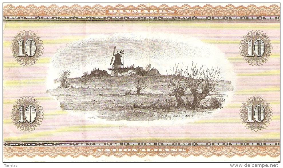 BILLETE DE DINAMARCA DE 10 KRONER DEL AÑO 1936 (BANK NOTE) MOLINO-MOULIN-MILL - Dinamarca