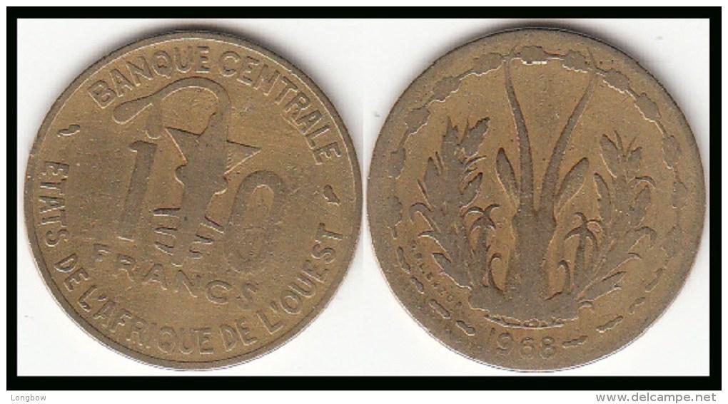REP.CENTRO AFRICANA 10 CAF Francs 1968 KM#1a - Used - Repubblica Centroafricana