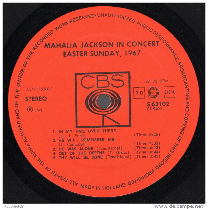 * LP *  MAHALIA JACKSON - IN CONCERT, EASTER SUNDAY 1967 (Holland 1967 EX-) - Gospel & Religiöser Gesang