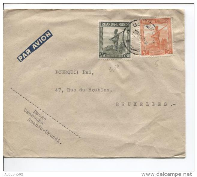 Ruanda-Urundi TP 140-141 S/L.Avion C.Usumbura 22/11/1945 V.Bruxelles PR679 - Ruanda-Urundi