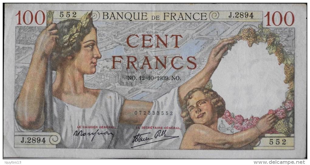 FRANCE 1 BILLET De BANQUE De 100Francs Type Sully - N° NO . 12=10=1939 . NO . - 100 F 1939-1942 ''Sully''