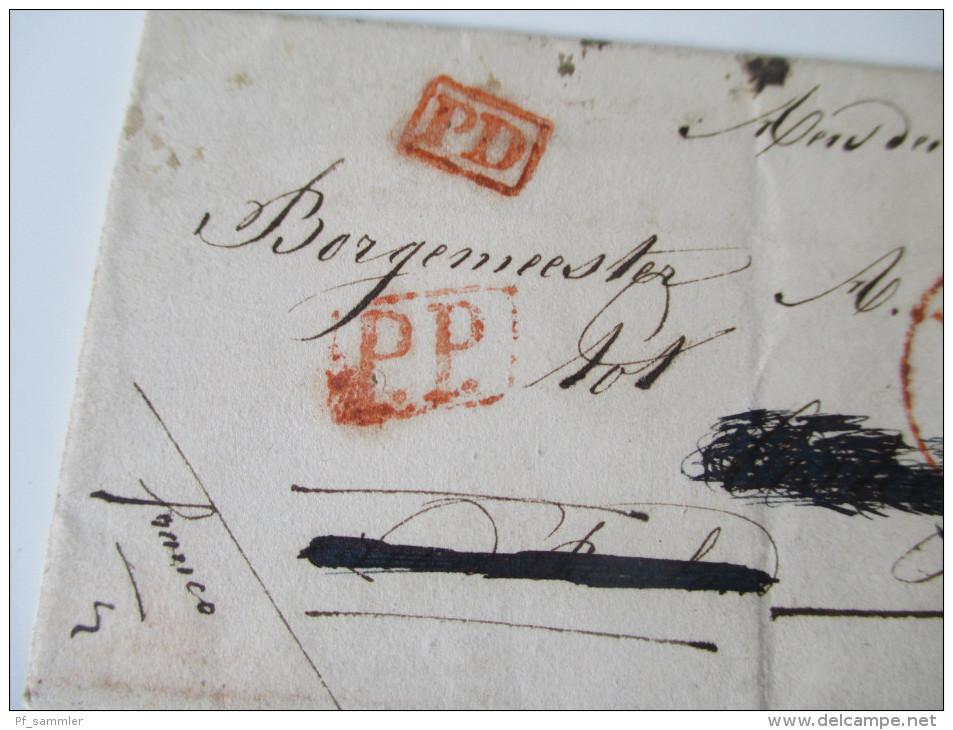 Niederlande Vorphila 1842 Hierden(??) An Den Bürgermeister A. Vogels. Stempel: PP / PD. Franco. Social Philately - Niederlande