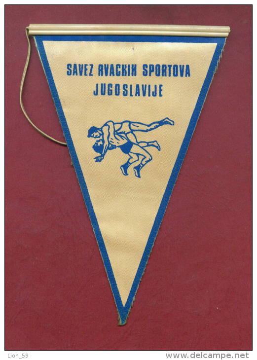 W92  / SPORT - Championship RVACKI Novi Sad Wrestling Lutte Ringen - 11.5  X 17.5 Cm. Wimpel Fanion Flag Yugoslavia - Lotta (Wrestling)