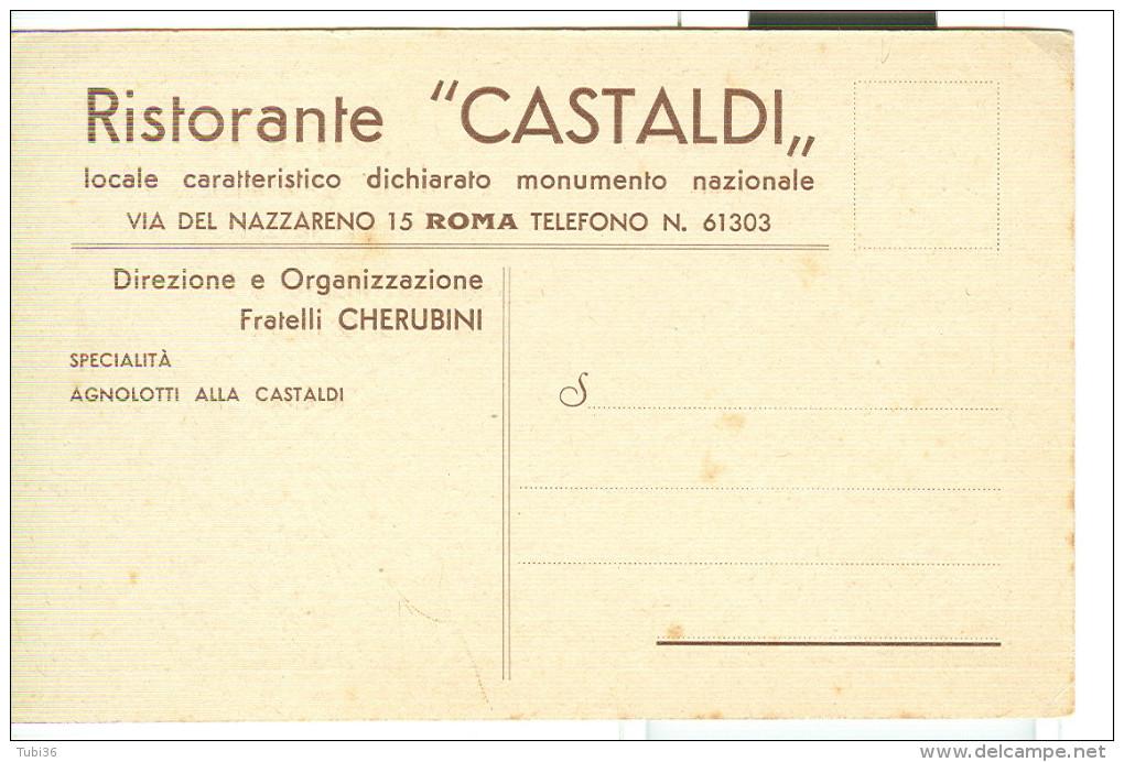 CASTALDI RISTORANTE, ROMA, CARTOLINA  PRESENTAZIONE CON STRADARIO, N/V - Alberghi & Ristoranti