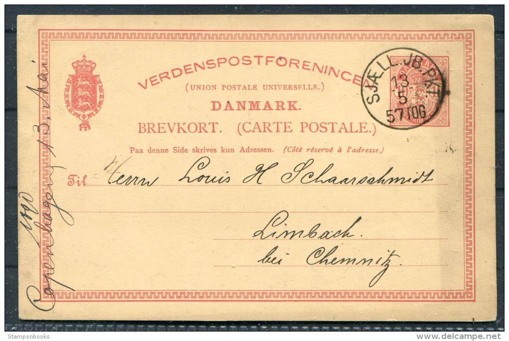 1890 Denmark 10 Ore Stationery Brevkort Copenhagen Sjaell. JB. PKT 57 TOG Railway - Limback Germany - 1864-04 (Christian IX)