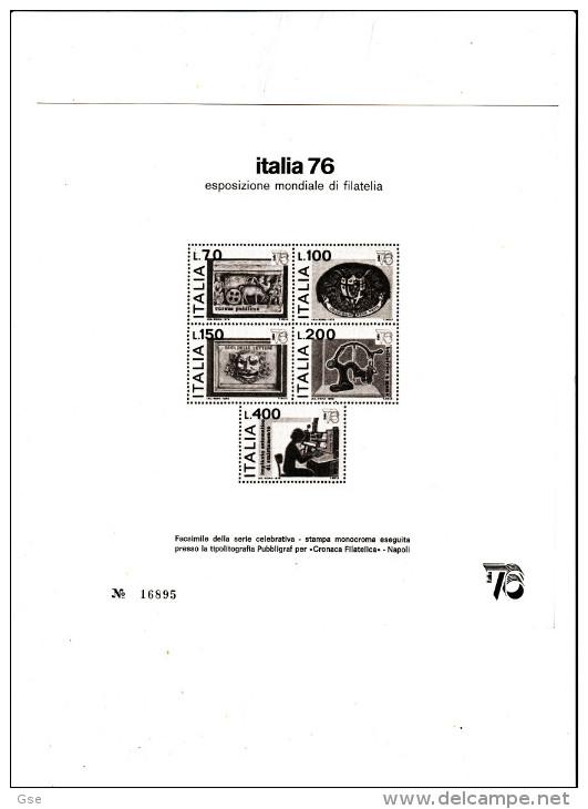 ITALIA   1976 -  Riproduzione Foglietto Numerato - Esposiz. Filatelica - Erinnofilia