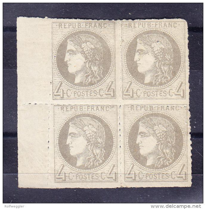 Bloc De 4 - Ceres 4 Centimes (1timbre **) BdF Gauche Perforation Privée Attestation Weid + Sign Bühler - 1871-1875 Cérès
