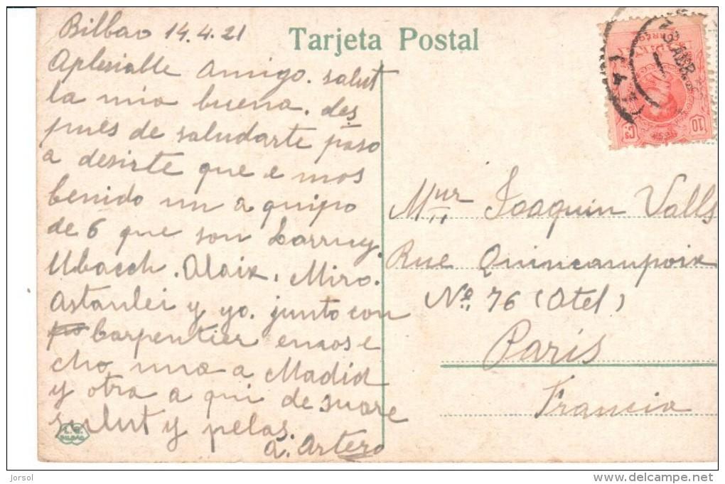 POSTAL   VIZCAYA -  PAIS VASCO  -  ( ESPAÑA )  PUENTE VIZCAYA O PUENTE COLGANTE  - TRANSBORD.  DE PORTUGAL. A LAS ARENAS - Vizcaya (Bilbao)