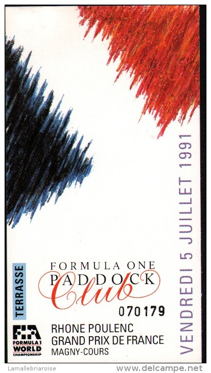 ENSEMBLE DES 3 FORMULA ONE PADDOCK TERRASSE (VENDREDI, SAMEDI ET DIMANCHE 7 JUILLET 1991) + 2 AUTOCOLLANTS ET POCHETTE - Automobile - F1