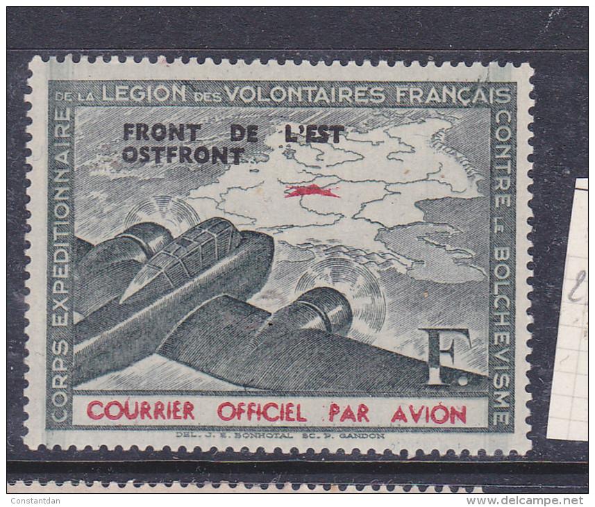 FRANCE LEGION DES VOLONTAIRES FRANCAIS N° 4 F VERT FONCE ET ROUGE  NEUF SANS CHARNIERE - Guerres