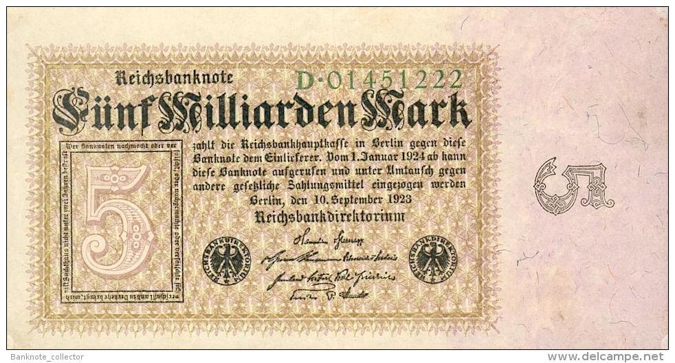 Deutschland, Germany - 5 Mrd. Mark, Reichsbanknote, Ro. 112 A,  ( Serie D ) XF ( II ), 1923 ! - [ 3] 1918-1933 : Weimar Republic