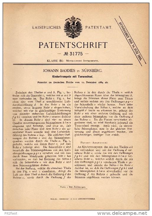 Original Patent - Johann Bammes In Nürnberg , 1884 , Kindertrompete Mit Tonwechsel , Trompete , Trumpet , Musik !!! - Musikinstrumente