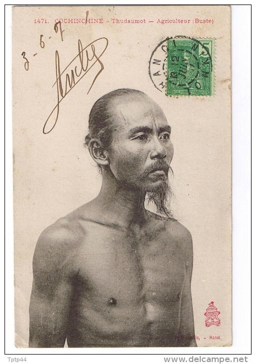 COCHINCHINE  -  Thudaumot  -  Agriculteur (Buste)  -  Cachet HANOÏ  -  TONKIN  -  1907 - Cartes Postales