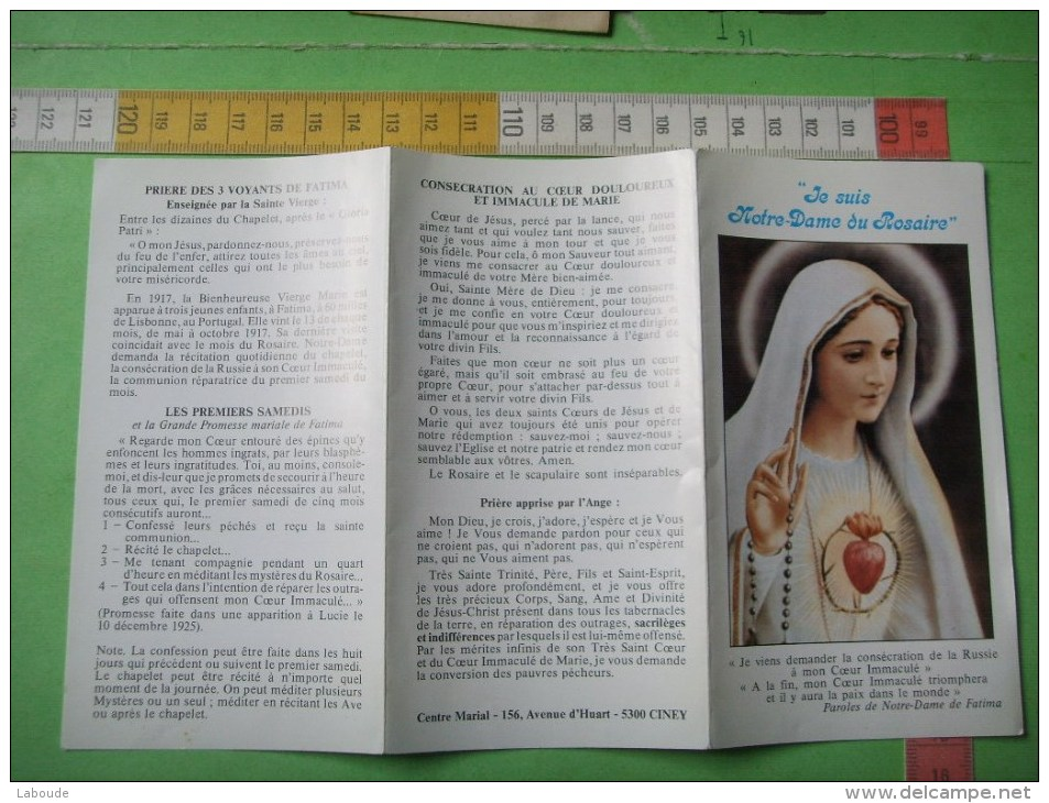 43 ) Paroles De Notre Dame  Du Saint Rosaire De Fatima :  2 Scans :centre Marial  5300 Ciney - Religion & Esotericism