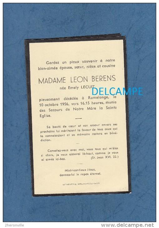 Carte Ancienne De Décés - RUMELANGE , LUXEMBOURG - Mme Léon BERENS , Née Emely LECUIT - 1956 - Décès