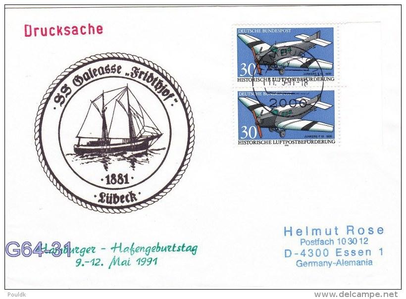 S/S Galeasse Fridthjof From Lübeck - Hamburger Hafengeburtstag Posted Hamburg 1991 (G64-31) - Ships