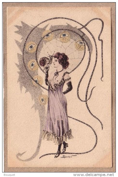ILLUSTRATEUR DOUHIN - ART NOUVEAU - JEUNE FEMME AU SEINS NUS AVEC UN ESCARGOT - éditeur ? - Avant 1904 - Illustrateurs & Photographes