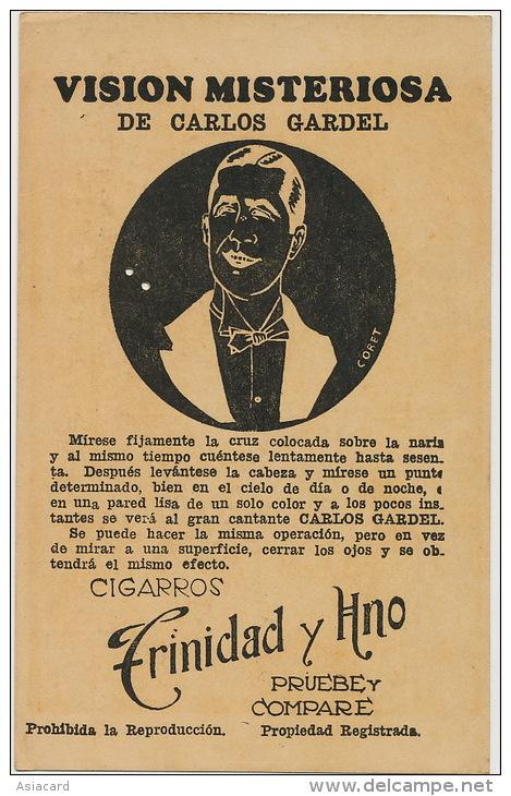 Vision Misteriosa De Carlos Gardel Tango Ill. Coret Illusion Optique Propaganda Trinidad Cuba - Argentina