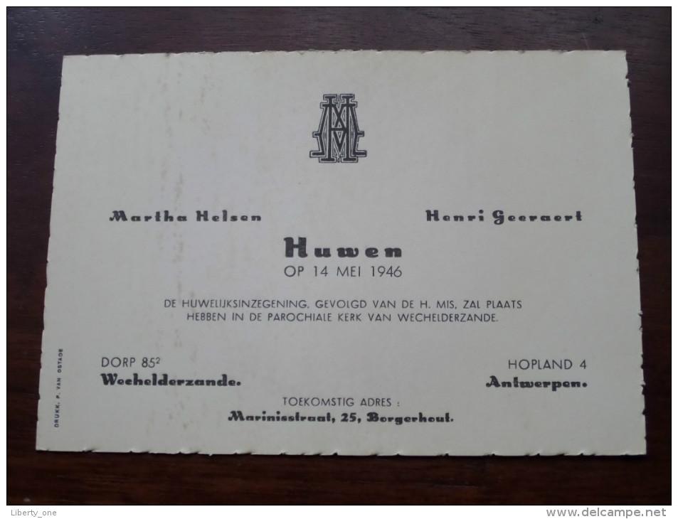 Martha HELSEN Wechelderzande & Henri GEERAERT Antwerpen Op 14 Mei 1946 HUWELIJK ( Zie Photo Voor Details ) !! - Boda
