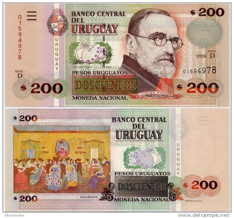 URUGUAY      200 Pesos Urug.    P-89b      2009       UNC - Uruguay