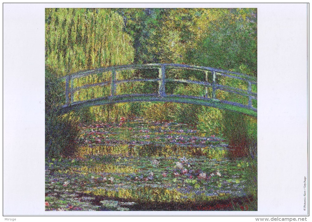 Painting By Claude Monet: Water Lily Garden Bridge, On Glossy Paper ,peinture - Prints