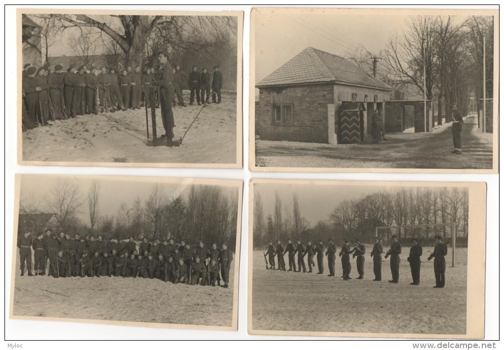 Carte Photo. Militaria.  Militaire. Soldats. A Situer. Lot De 8. 1946-47. Mortier,caserne,Instructi On.... - Krieg, Militär