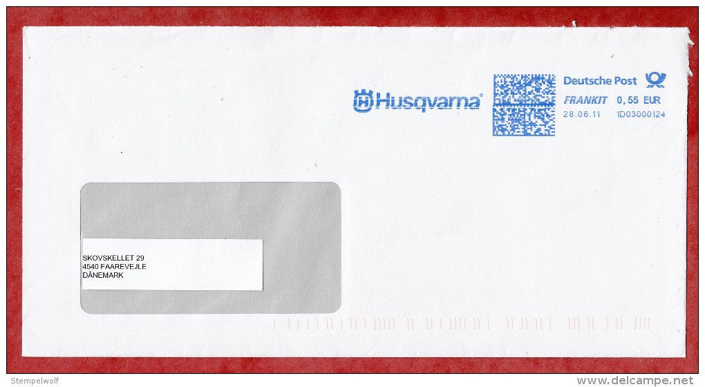 Auslandsbrief?, FRANKIT Neopost 1D030.., Husqvarna, 55 C, 2011 (55023) - Covers & Documents