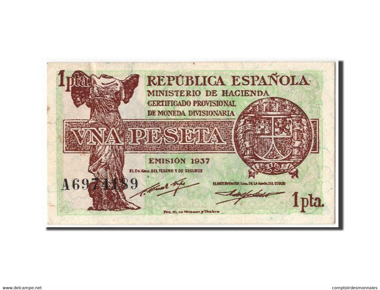 [#303925] Espagne, 1 Peseta Type 1937-38 - [ 3] 1936-1975 : Régence De Franco