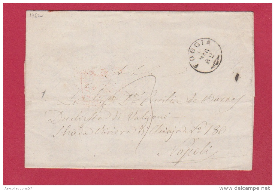 ITALIE  //  LETTRE DE FOGGIA  //  POUR NAPOLI  //   1862 - Affrancature Meccaniche Rosse (EMA)