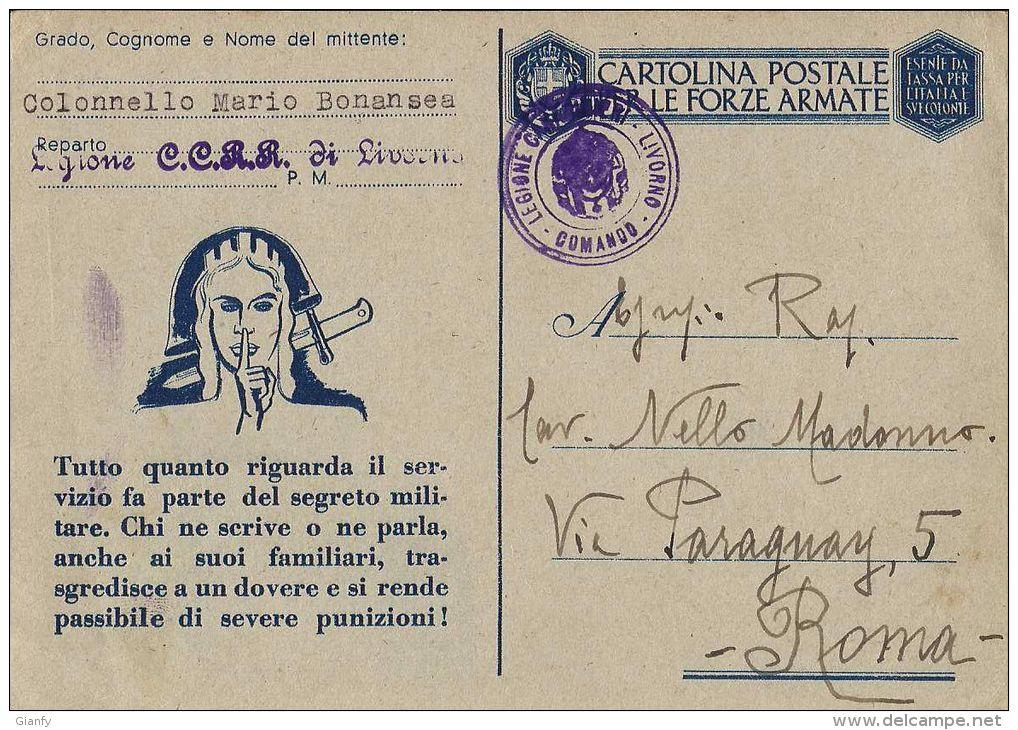 FRANCHIGIA WWII POSTA MILITARE 1943 LEGIONE CARABINIERI REALI LIVORNO X ROMA - 1900-44 Vittorio Emanuele III