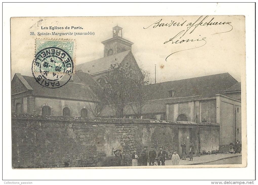 Cp, 75, Paris, Les Eglises De Paris, Sainte Marguerite, Ensemble, Voyagée - Eglises