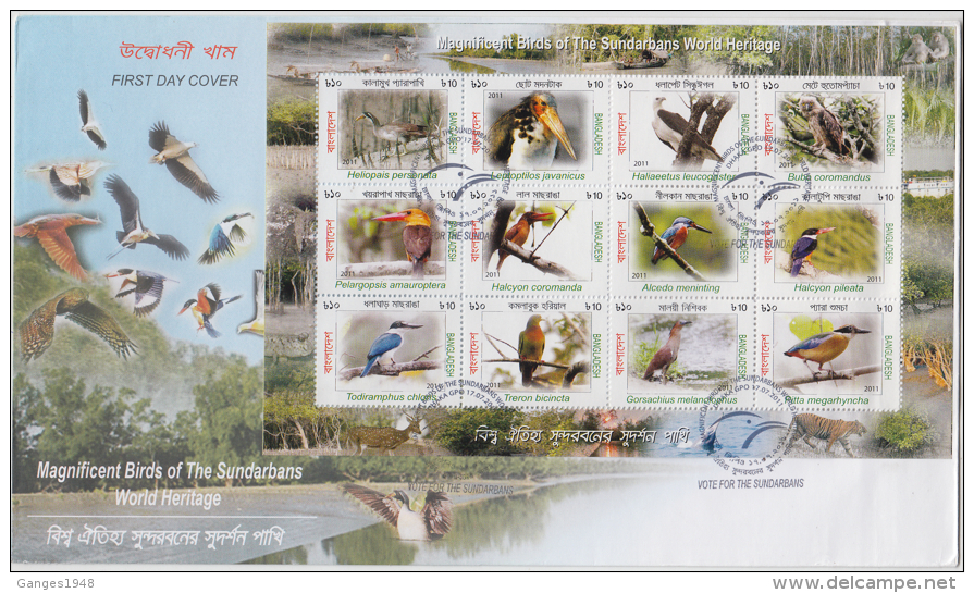 Bangladesh 2011  Birds Of Sundarbans  12v M/S FDC # 83166 - Birds