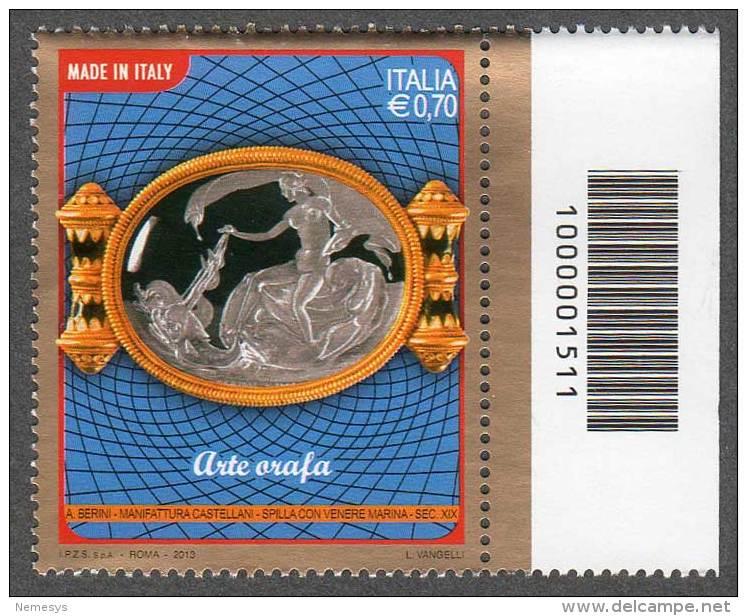 2013 ARTE ORAFA  0,70C. CODICE A BARRE MNH** - 6. 1946-.. República