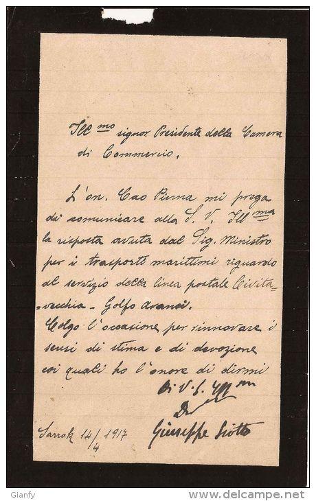 AUTOGRAFO AVVOCATO GIUSEPPE SIOTTO POLITICO SARROCH SARDEGNA 1917 - Autographs