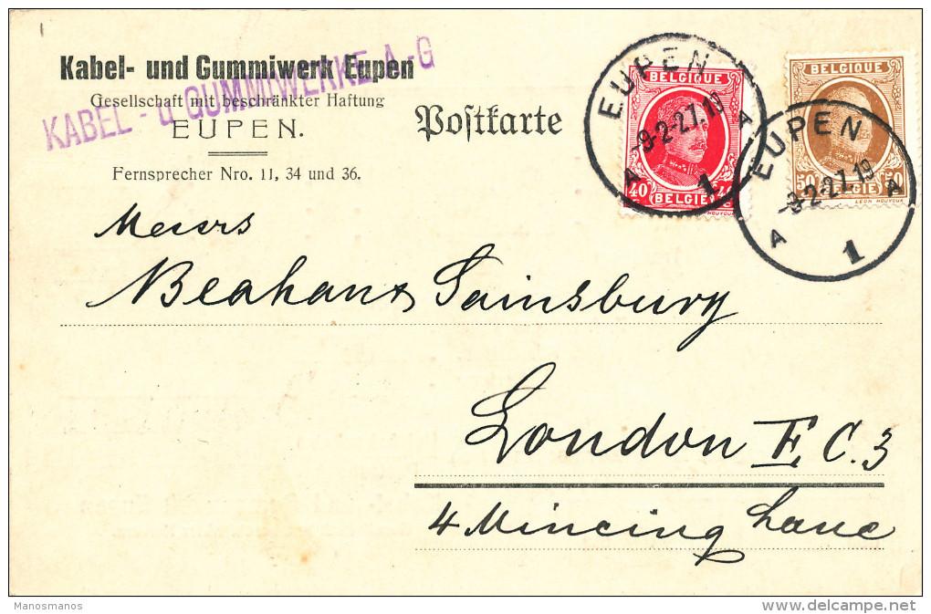 531/22 --  CANTONS DE L' EST - Carte Privée TP Houyoux EUPEN 1927 Vers LONDRES - Kabel Und Gummiwerk Eupen - 1922-1927 Houyoux