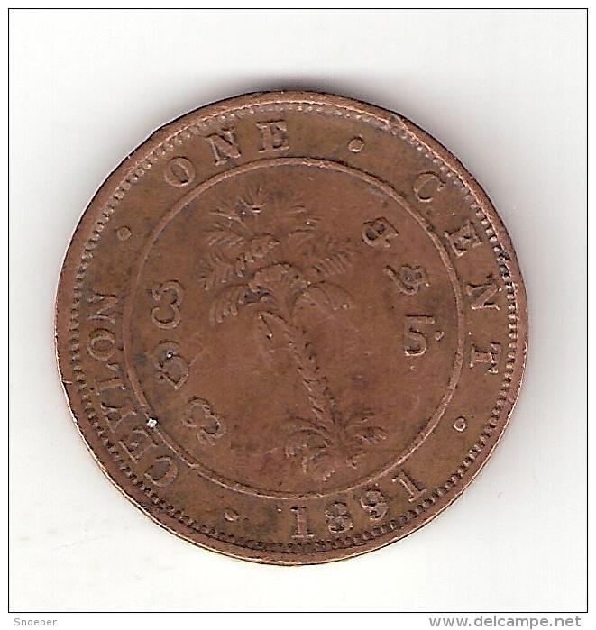 * Ceylon 1 Cent 1891  Km  92  Vf - Sri Lanka
