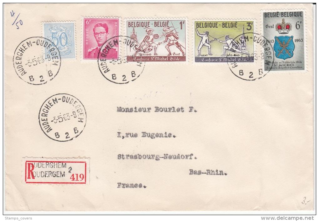BELGIUM REGISTERED COVER 1963 COB 1246/48 GILDE GANTOISE DES ESCRIMEURS SAINT-MICHEL - Lettres & Documents