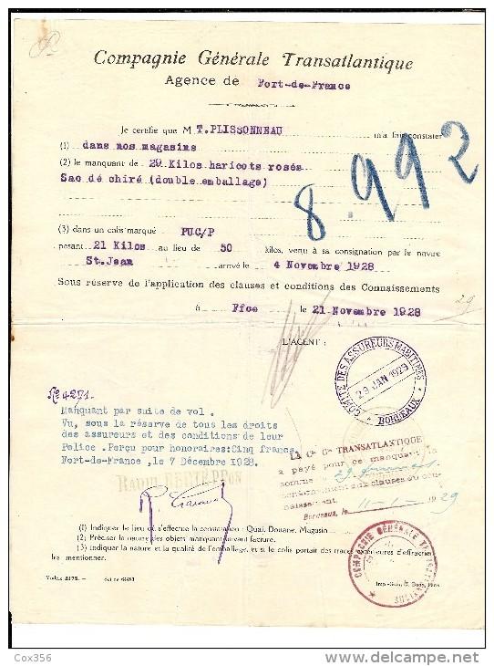 CONSTAT De La COMPAGNIE GÉNÉRALE TRANSATLANTIQUE Pour Vols De HARICOTS ROSEE Sur Le Bateau St JEAN En 1928 - Transports