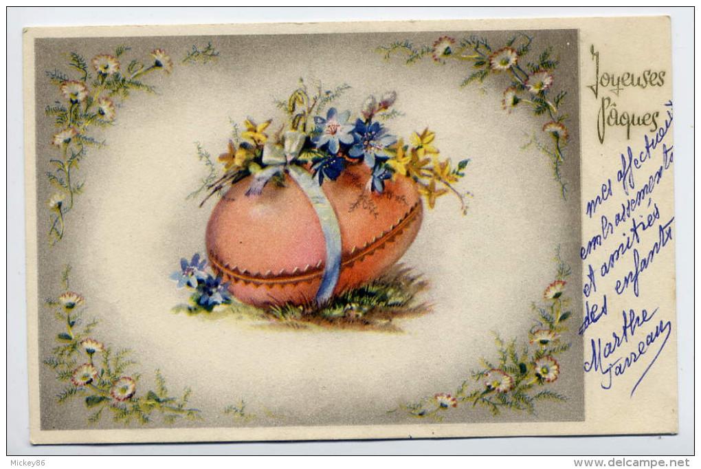 Joyeuse Pâques--Oeuf Et Fleurs  N°44374  éd  Cotonart---carte Belge - Pâques