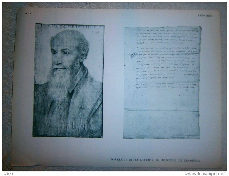 FEUILLE   PORTRAIT 1566 ET LETTRE  1568 DE MICHEL DE L HOSPITAL   DIM 31 X 24 CM - Oude Documenten
