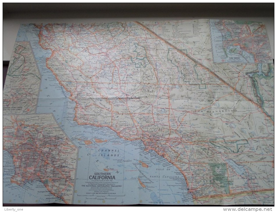 SOUTHERN CALIFORNIA ( Atlas Plate 69 National Geographic ) Scale : 1,647,360 Or 26 Miles To The Inch / Anno 1966 ! - World