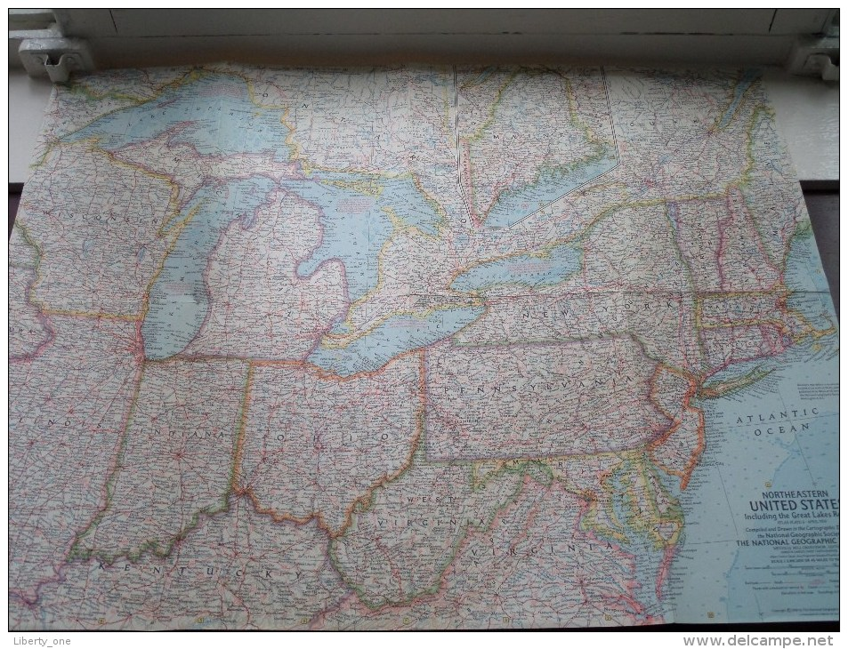 NORTHEASTERN U.S ( Atlas Plate 6 National Geographic ) Scale : 2,851,200 Or 45 Miles To The Inch / Anno 1959 ! - World