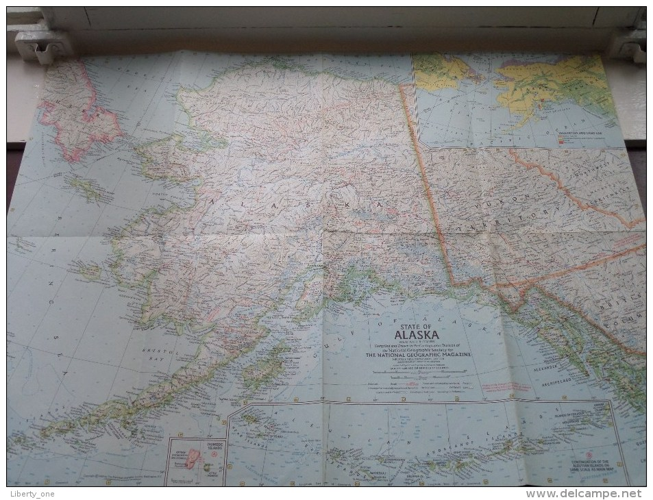 STATE Of ALASKA ( Atlas Plate 18 National Geographic ) Scale : 4,118,400 Or 65 Miles To The Inch / Anno 1959 ! - Mundo