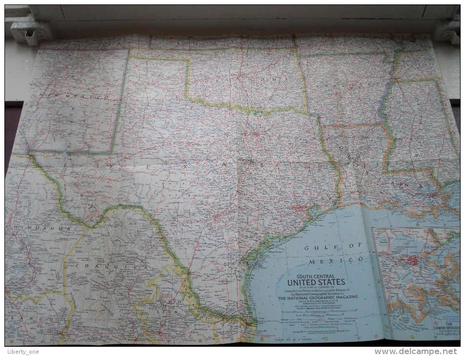 SOUTH CENTRAL U.S. ( Atlas Plate 10 National Geographic ) Scale : 2,851,200 Or 45 Miles To The Inch / Anno 1961 ! - World