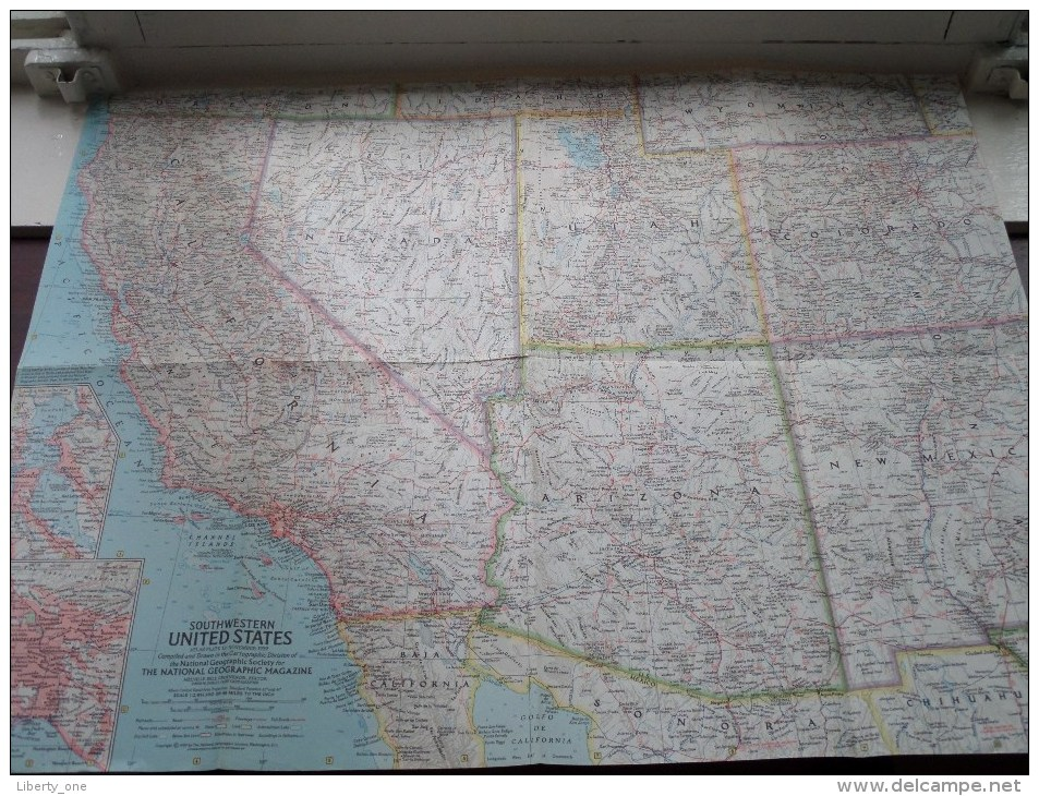 SOUTHWESTERN U.S. ( Atlas Plate 12 National Geographic ) Scale : 2,851,200 Or 45 Miles To The Inch / Anno 1959 ! - World