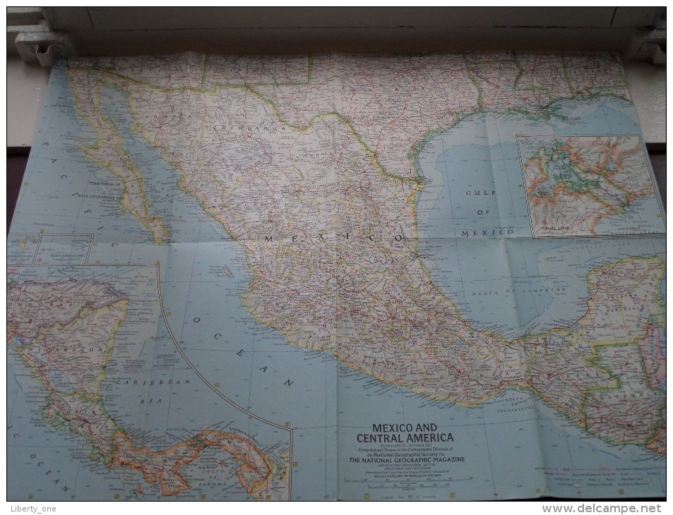 MEXICO And CENTRAL U.S. ( Atlas Plate 22 National Geographic ) Scale : 4,942,080 Or 78 Miles To The Inch / Anno 1961 ! - World