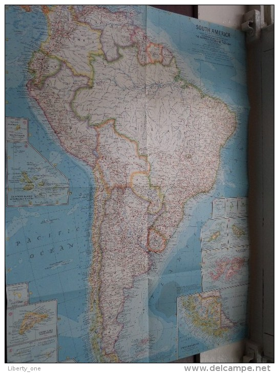 SOUTH AMERICA ( Atlas Plate 25 National Geographic ) Scale : 12,165,120 Or 192 Miles To The Inch / Anno 1960 ! - World